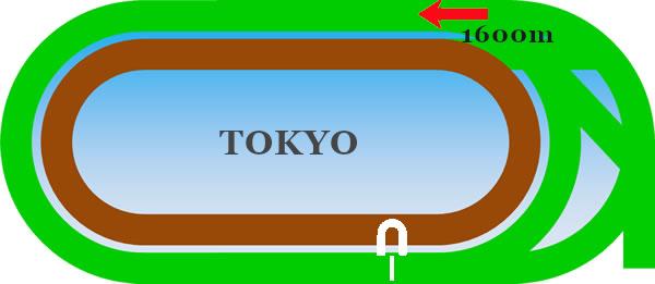 東京芝1600mのコース画像